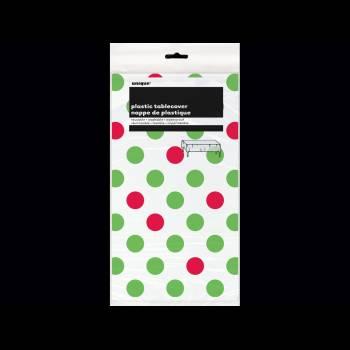 Nappe en plastique pois rouge et vert