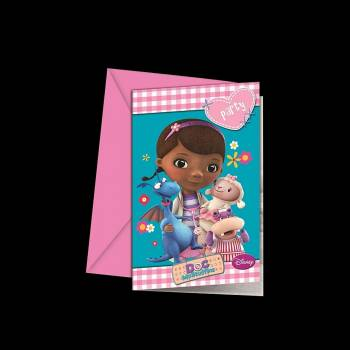 6 Cartes invitations Docteur la peluche