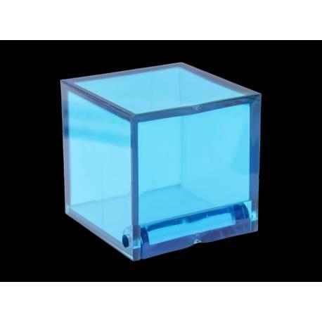 sachet de 4 boîtes cubes en plexi dimensions : 4,5 x 4,5 cm