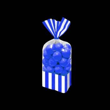 10 sacs à confiseries rayures bleu royal
