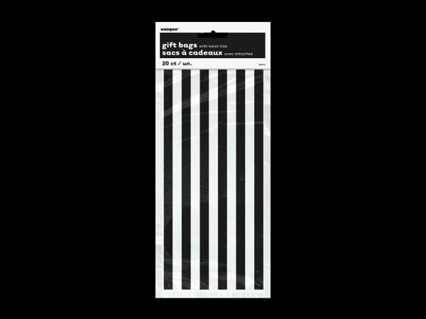 Bonbon Halloween- Sacs confiseries rayures noire et blanche