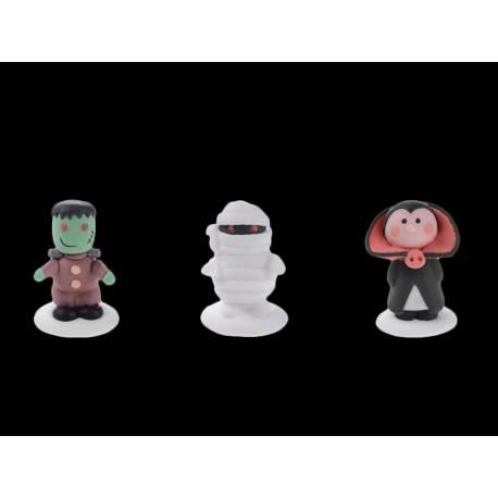 Assortiment de 3 figurines gélifiées aux fruits + sucre Hauteur 5 cm