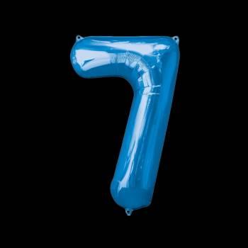 Ballon géant chiffre 7 bleu