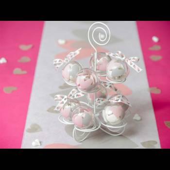 4 Boules transparente à garnir Coeurs gris/rose