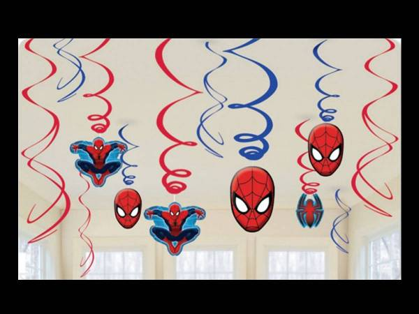 Suspension spiderman swirl deco anniversaire - Deco anniversaire spiderman ...