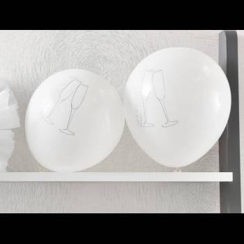 8 Ballons Champagne blanc
