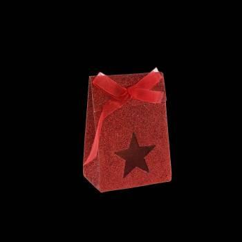 4 Pochons papier Etoile pailleté rouge