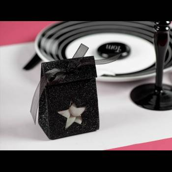 4 Pochons papier Etoile pailleté noir