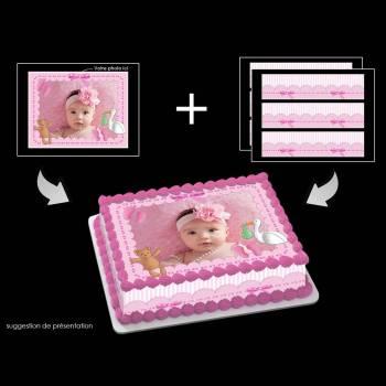 Kit Easycake Baby rose à personnaliser A4