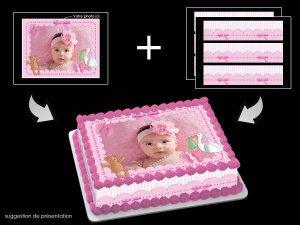 Kit deco azyme Easycake personnalisé rectangle décor Baby rose- Déco de gâteau