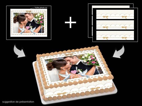 Kit deco azyme Easycake personnalisé rectangle décor Colombe or- Déco de gâteau