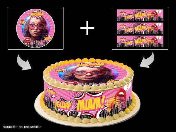 Kit déco azyme Easycake personnalisé décor Pop art girl- Déco de gâteau