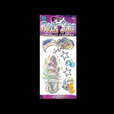 Set de tattoos éphémères thème Rockstar Dimensions planche : 20 cm x 12 cm