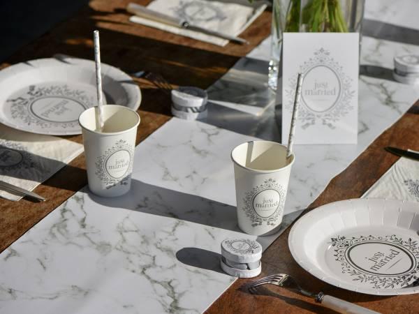 D co de table chemin de table impression marbre for Table salle a manger plateau marbre