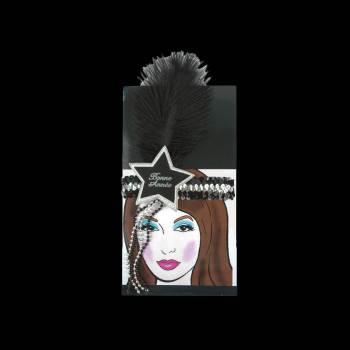 Headband plume noir sequins Bonne année