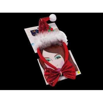 Serre tête + noeud pap Père Noël luxe
