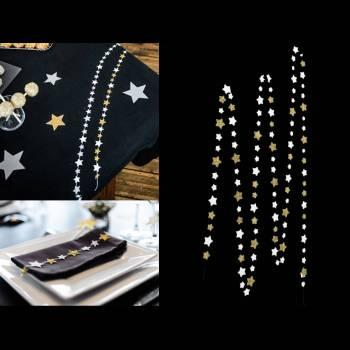 Guirlande étoiles blanc et or 2.70M