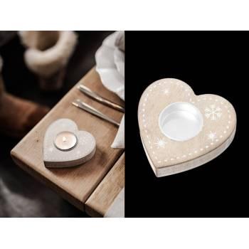 Bougeoir coeur en bois flocon