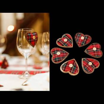 6 Coeur adhésifs écossais