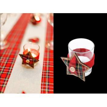 Bougeoir en verre étoile écossais