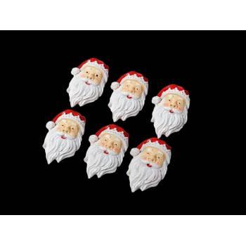 6 Têtes de Père Noël adhésives