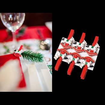 6 Pinces Cheval à bascule Noël