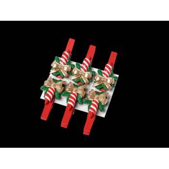 6 Pinces bougie de Noël
