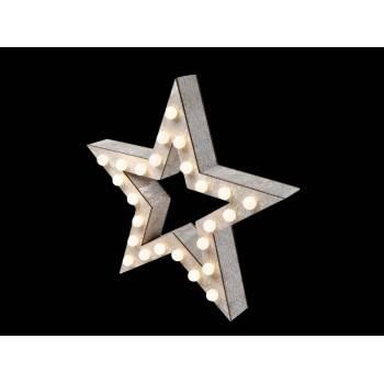 Etoile en bois à LED 38 cm