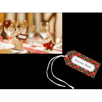 8 étiquettes écossaise Joyeux Noël