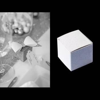 8 Mini boîtes blanches pailleté