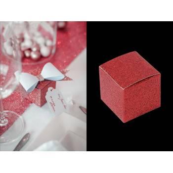 8 Mini boîtes rouge pailleté