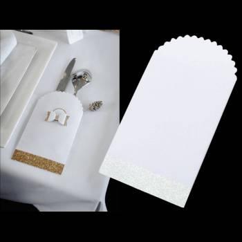 8 pochettes pailleté blanche