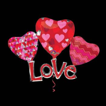 Ballon hélium géant trio coeur love