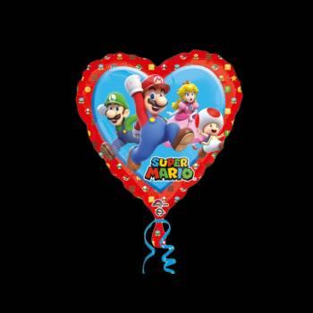 Ballon hélium coeur super Mario