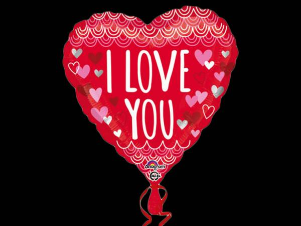 Ballon hélium coeur I love you