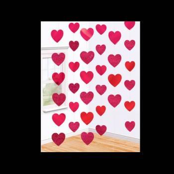 6 Guirlandes fil coeur rouge