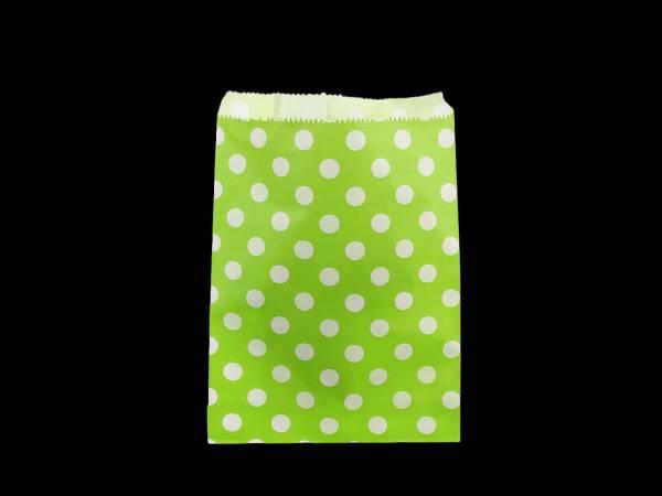 10 Pochettes papier cadeau vert pois blanc