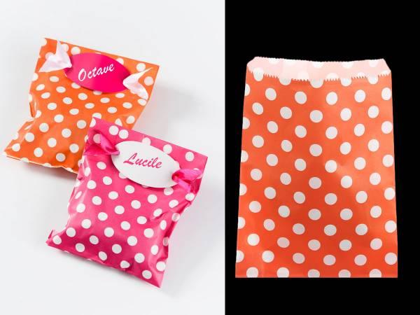 10 Pochettes papier cadeau orange pois blanc