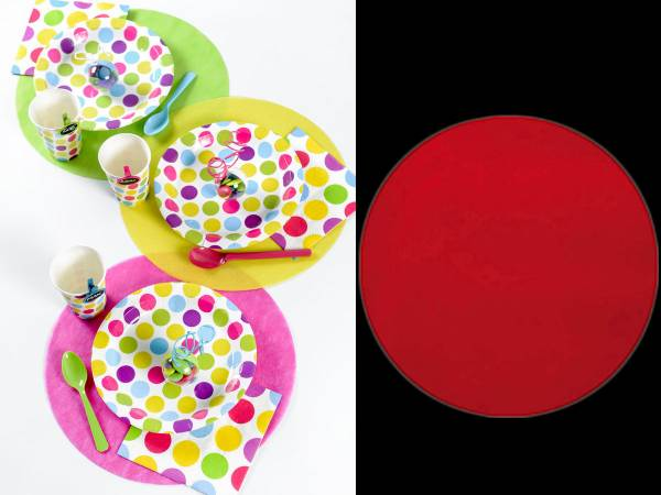 Set de table rond intiss couleur rouge for Set de table rouge rond