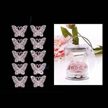 10 Papillons dentelle rose autocollant