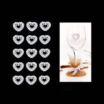 10 Coeurs dentelle blanc autocollant