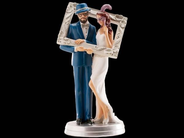 Sujet de mariage pour pièce montée résine couple photobooth