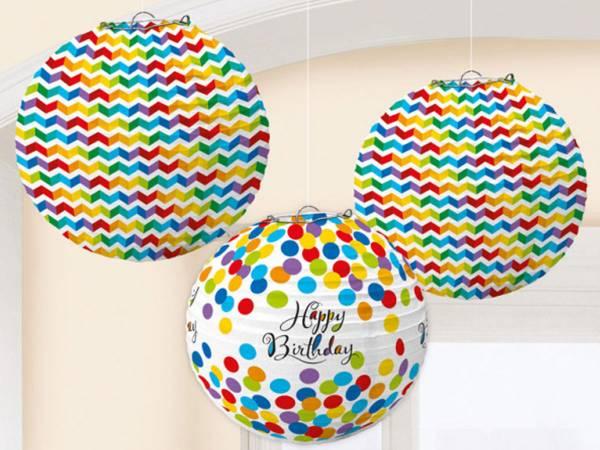 3 Lanternes Happy Birthday Color flash