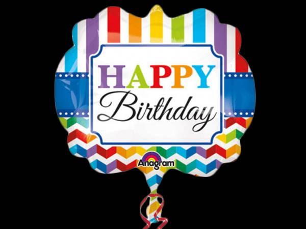 Ballon hélium Happy Birthday Color flash