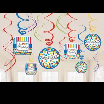 12 Suspensions Happy Birthday Color flash