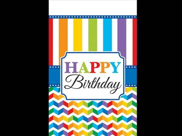 Nappe en plastique Happy Birthday Color flash