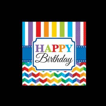 16 Serviettes Happy Birthday Color flash