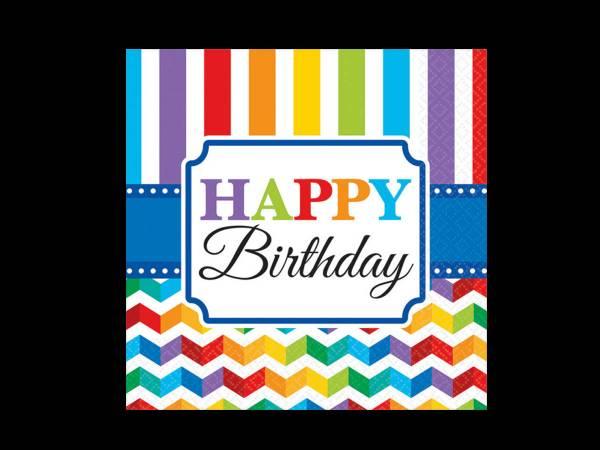 Anniversaire happy birthday colorflash 16 Serviettes