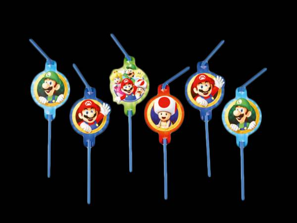 8 Pailles Mario Bros- deco anniversaire