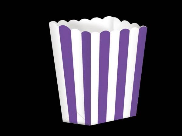 5 Boîtes Pop corn rayures violettes